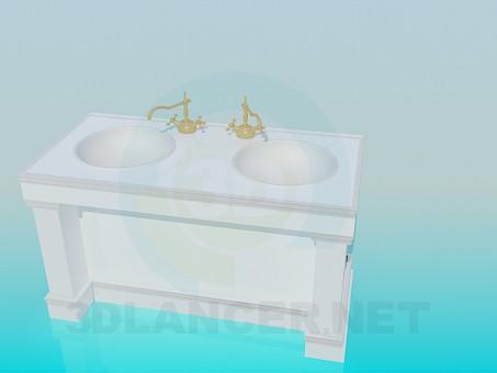 3d модель Тумба на два круглих умивальника – превью