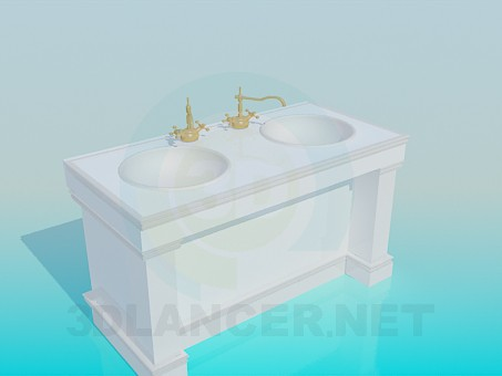 3d model Floor standing on two round basin - preview