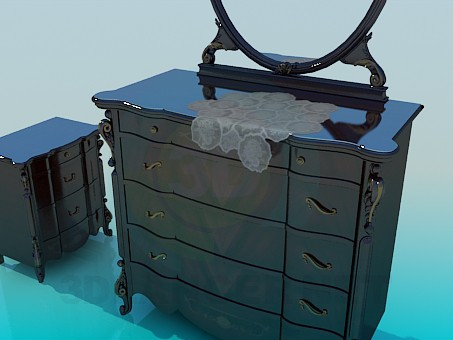 3d model Dressing with cabinet - preview
