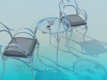 3d моделирование Кофейный столик и стулья в наборе модель скачать бесплатно