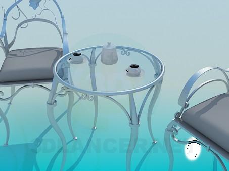 modelo 3D Mesa y sillas conjunto - escuchar