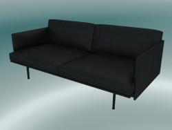 Contorno divano doppio (raffina pelle nera, nero)