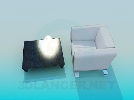 3d model Table with armchair - preview