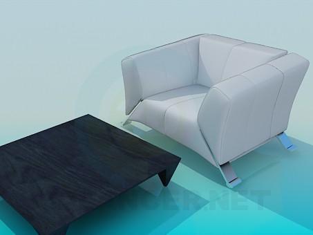 modelo 3D Mesa con la butaca - escuchar