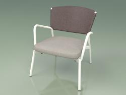 Armchair with soft seat 027 (Metal Milk, Batyline Brown)