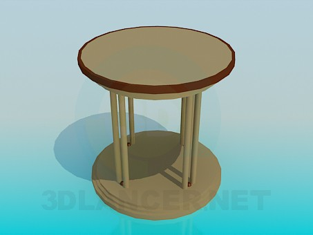 3d model Table with round tabletop - preview
