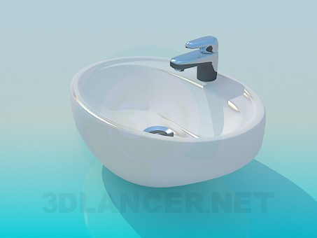 3d model Small sink with mixer tap - preview