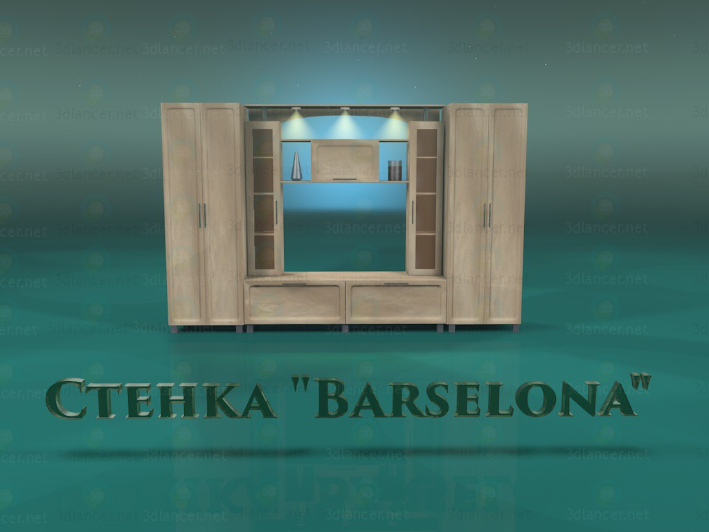 """3d model Wall """"Barcelona"""" - preview"""