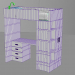 3d Bunk bed with table model buy - render