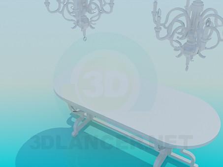 3d модель Обеденный стол с люстрами – превью