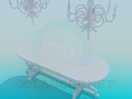 3d model Dining table with chandeliers - preview