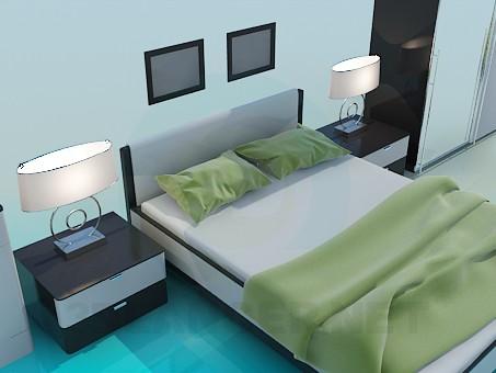3d модель Набор мебели в спальню – превью