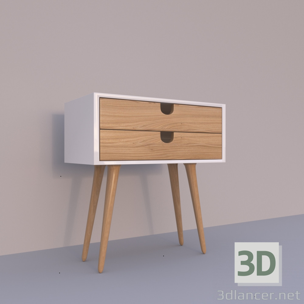 3d model White nightstand - preview