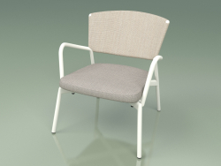 Armchair with soft seat 027 (Metal Milk, Batyline Sand)