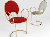 Chair with delicate looped armrests