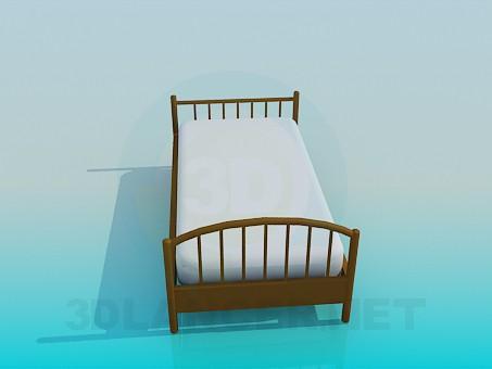 3d модель Звичайна ліжко – превью