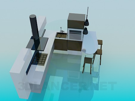 3d modeling Kitchen-style minimalism model free download