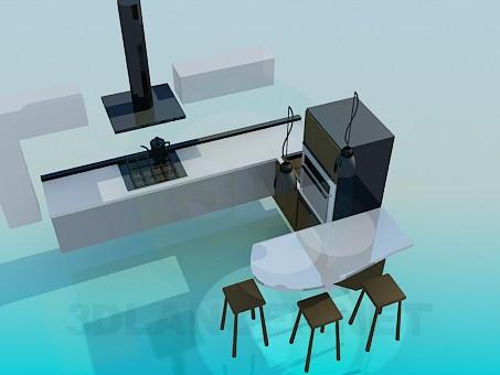 modelo 3D Minimalismo estilo cocina - escuchar