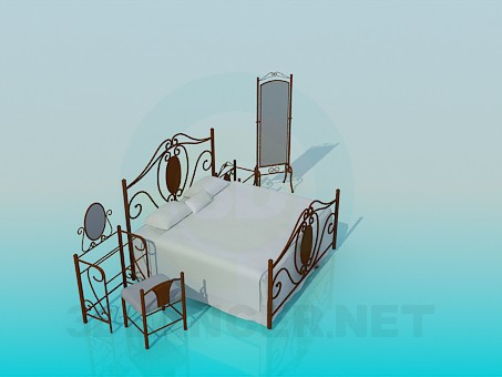 3d model A set of furniture in the bedroom - preview