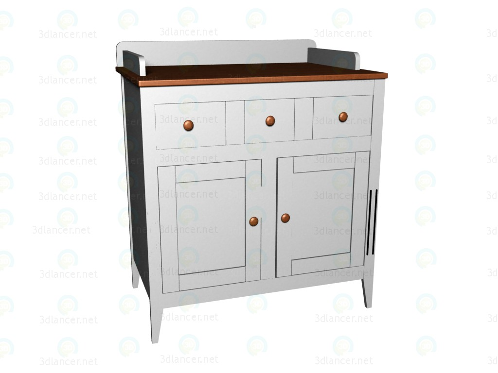 3d model Chest of drawers with changing table - preview