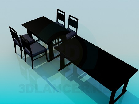3d model Tables and chairs set - preview