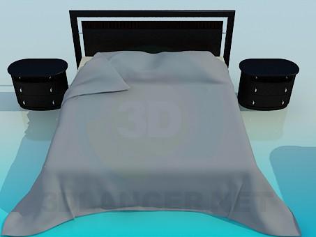 3d моделирование Кровать с тумбочками модель скачать бесплатно