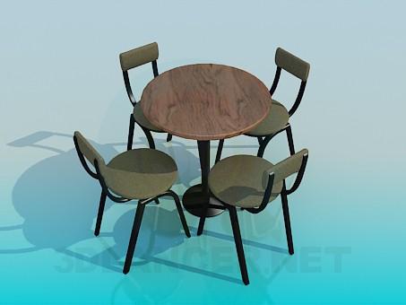 3d моделирование Столик со стульями для кафе модель скачать бесплатно