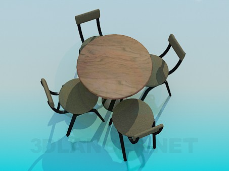 3d model Table with chairs for Cafe - preview