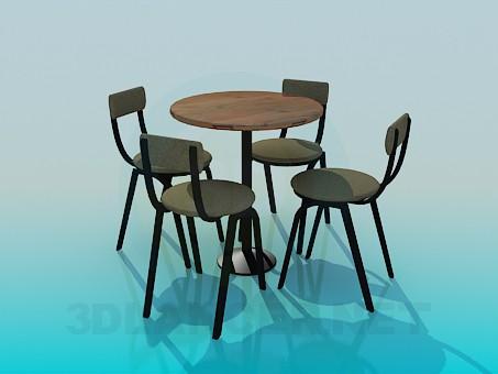 3d модель Столик со стульями для кафе – превью