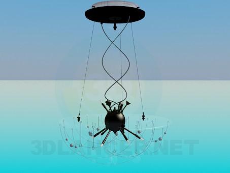 descarga gratuita de 3D modelado modelo Lámpara Chandelier con cúpula de cristal