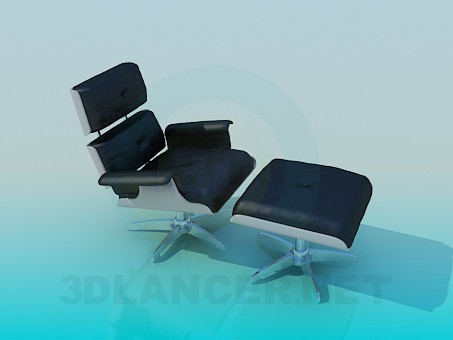 3d model Chair and ottoman set - preview