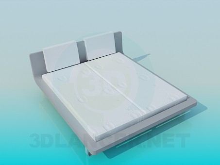 3d модель Кровать с подставкой по периметру и мягким подголовником – превью