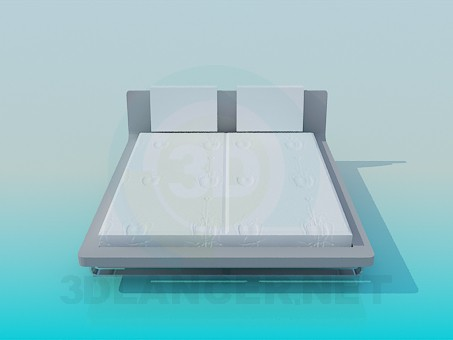 3d model Bed with stand and a soft headrest - preview