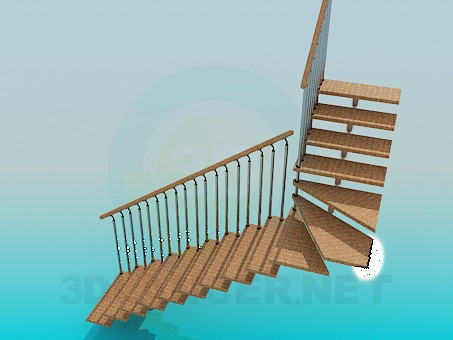 3d modeling Corner stairs model free download