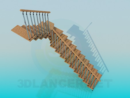 3d model Corner stairs - preview