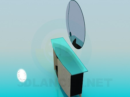 3d model Cupboard with mirror - preview