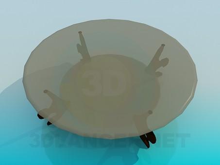 3d модель Круглый журнальный стеклянный столик – превью