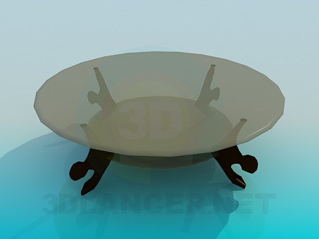 3d model Round glass coffee table - preview
