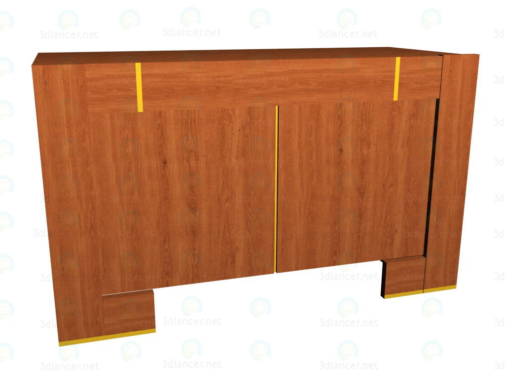 3d model Low chest of drawers 2-door - preview