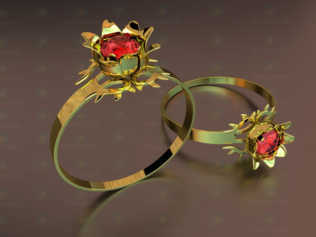 "3d model Ring ""The Scarlet Flower"" - preview"
