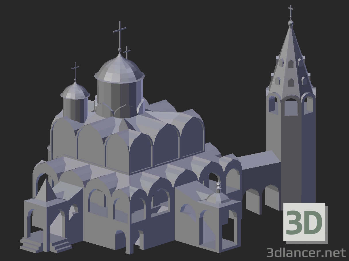3d model Suzdal. Intercession Cathedral with a bell tower - preview