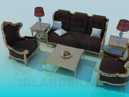 3d modeling A set of furniture in the living room model free download