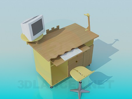 3d modeling Computer desk model free download