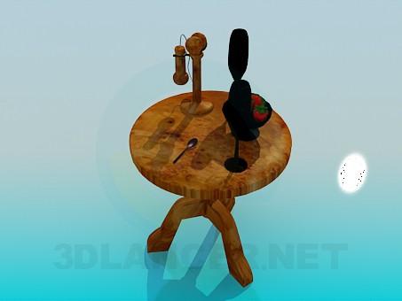 modelo 3D Mesa de té con el teléfono y glases - escuchar