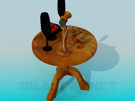 3d model Tea table with the phone and glases - preview