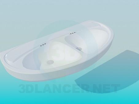 modelo 3D Lavabo con dos lavabos - escuchar