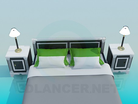 3d моделирование Двуспальная кровать с тумбочками модель скачать бесплатно
