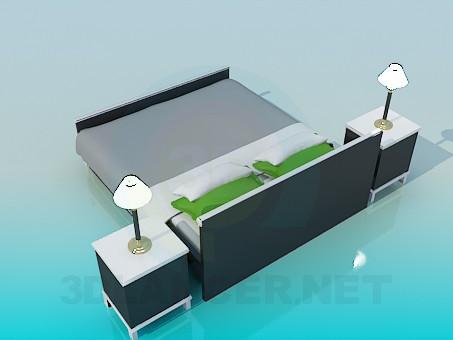 3d модель Двуспальная кровать с тумбочками – превью