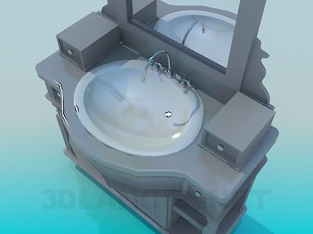 3d модель Тумба под умывальник с зеркалом – превью