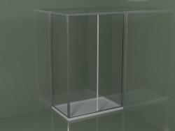 Cabine de douche coulissante ZQ + ZF 130 pour receveur de douche d'angle rectangulaire